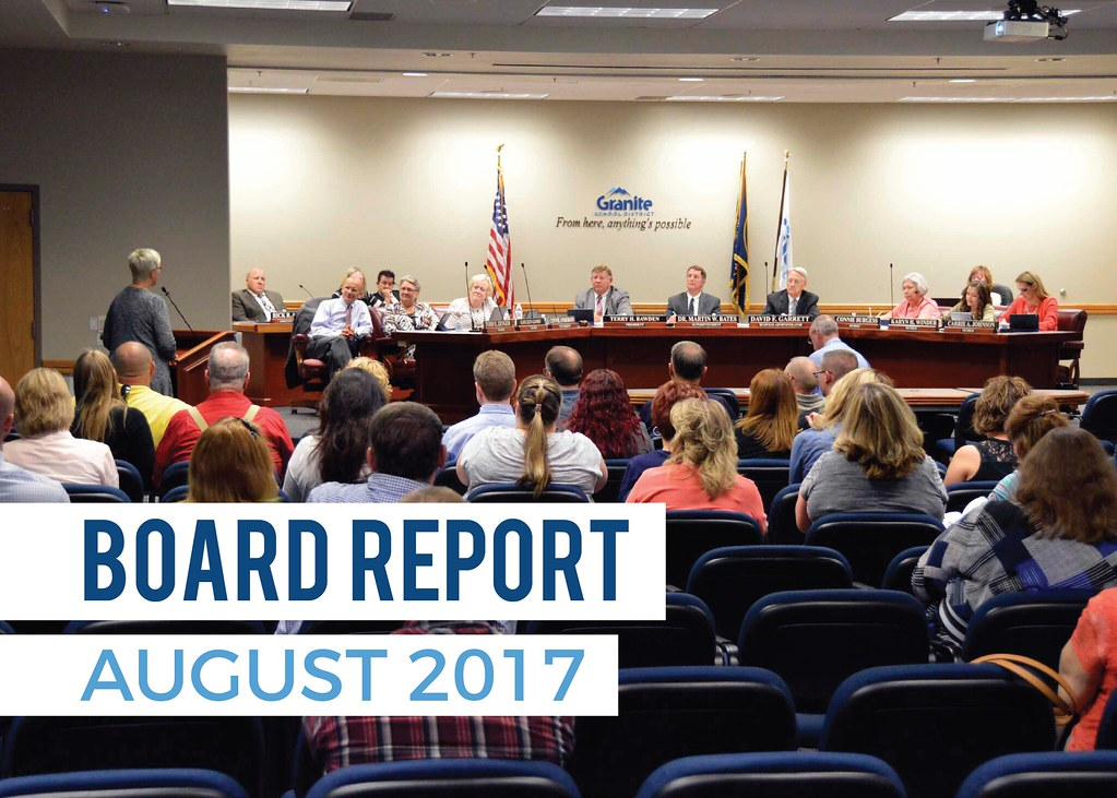 Member of the public addressing board members with text 'Board Report | August 2017'