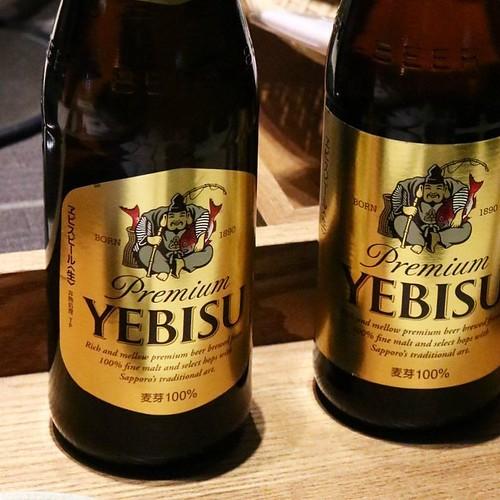 ラッキーヱビスの実物。ホントだ、ラベルのデザインが違う! #ヱビスビール #ヱビスビール記念館 #ビアホールの日