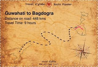 Map from Guwahati to Bagdogra