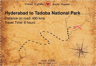 Map from Hyderabad to Tadoba National Park