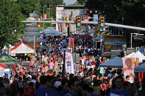 Crowd flows up and down Hillsborough Street during Packapalooza.