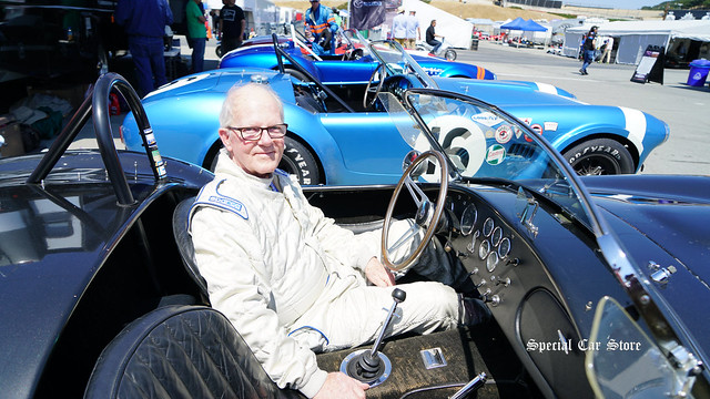 Longtime automobile part supplier, collector and race car driver Tom McIntyre brings his original 1966 Shelby Cobra back on the track at Mazda Raceway Laguna Seca.