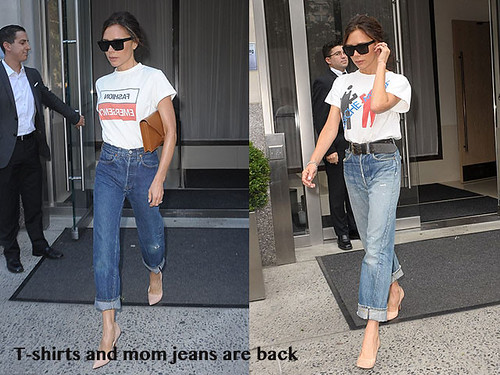 Tee-shirts-and-mom-jeans-are-back, mama jeans, mom jeans, Bat Gio 'fashion emergency' slogan t-shirt, slogan t-shirt, brown clutch bag, tan clutch, Depeche Mode T-shirt, Victoria Beckham mom jeans, Victoria Beckham jeans