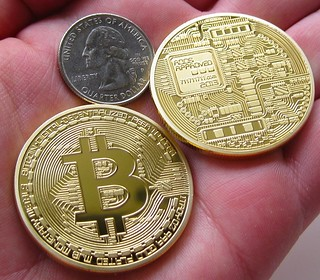 Commemorative Gold-Plated Copper Bitcoin