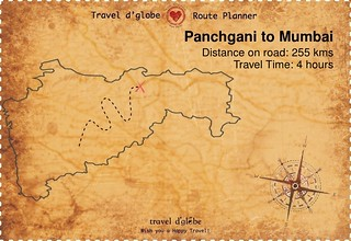 Map from Panchgani to Mumbai