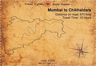 Map from Mumbai to Chikhaldara