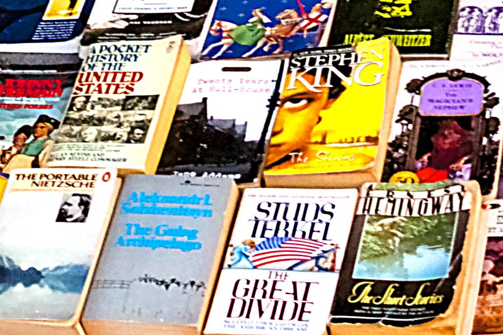 Homeless bookseller--South Street (detail)