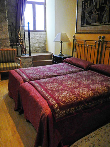 Bedroom in the Castillo de Curiel, a renovated medieval castle that had been converted into a hotel