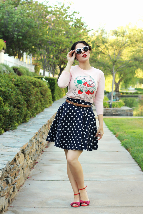 Joanie Clothing Hermione Le Pique-Nique Slogan Knit Quinn Polka Dot Skirt