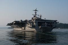 USS John C. Stennis (CVN 74) transits Puget Sound, Aug. 11, after getting underway for sea trials. (U.S. Navy/MC3 Dakota Rayburn)