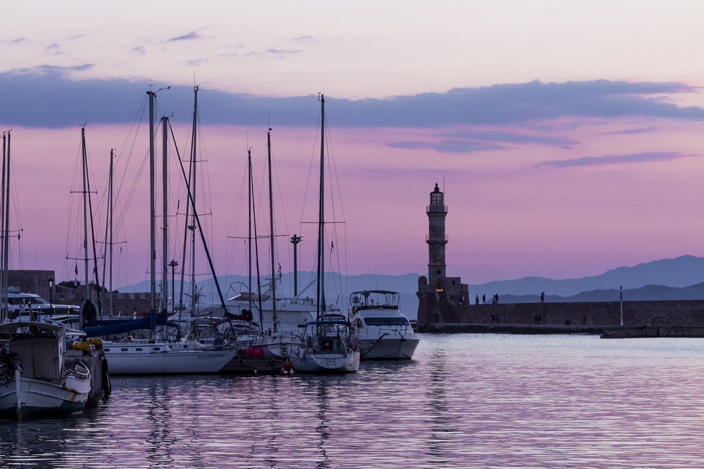 Marina - Sunset in Old Harbour in Chania - Crete, Greece