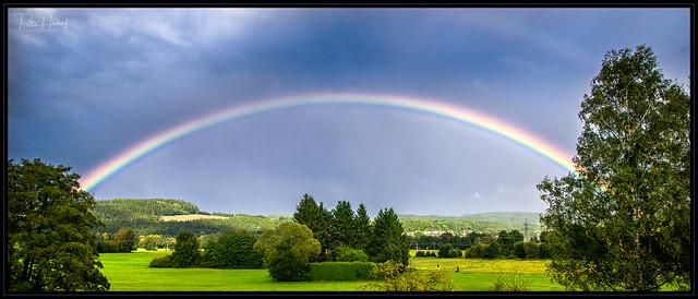 Regenbogen über den Naabauen