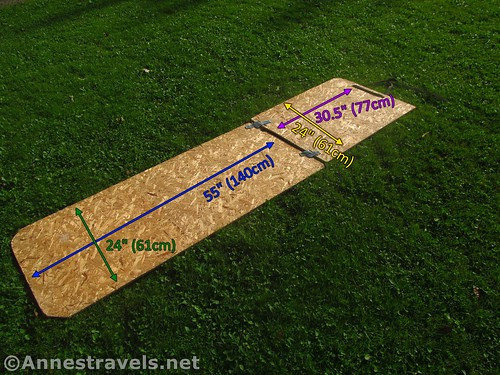 Measurements of the two pieces of wood for Van Bunkbed #1 (Note that this is the bottom of the bunkbed)