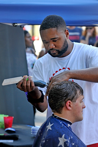 Haircuts in the Service Zone at Packapalooza.