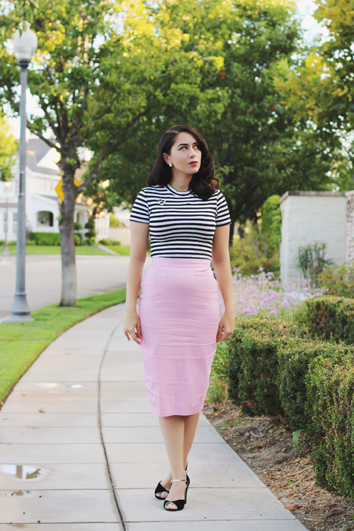 Vixen by Micheline Pitt Bad Girl Crop Top in Black and White Stripes Vixen Pencil Skirt in Powder Pink