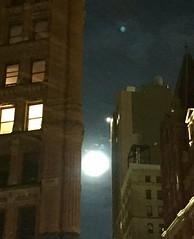 Full moon between two buildings on Beekman St