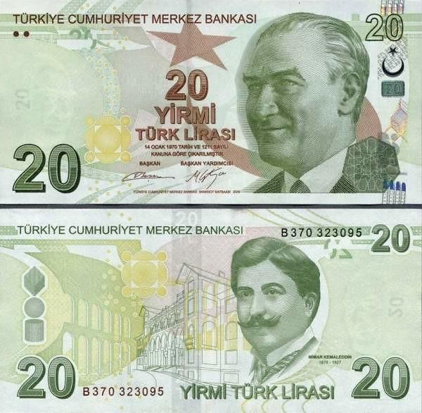 20 lír Turecko 2013, P224b