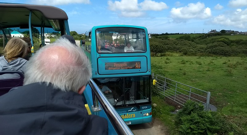 On the bus from Penzance to Lands End, Cornwall