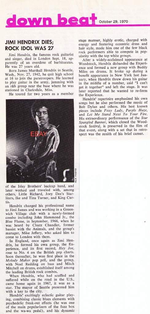 Downbeat Magazine October 29, 1970