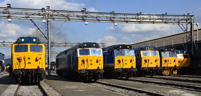 Class 50s 50007 50017 50026 50044 50049 D400  Old Oak Common Open Day 2 Sept 2017