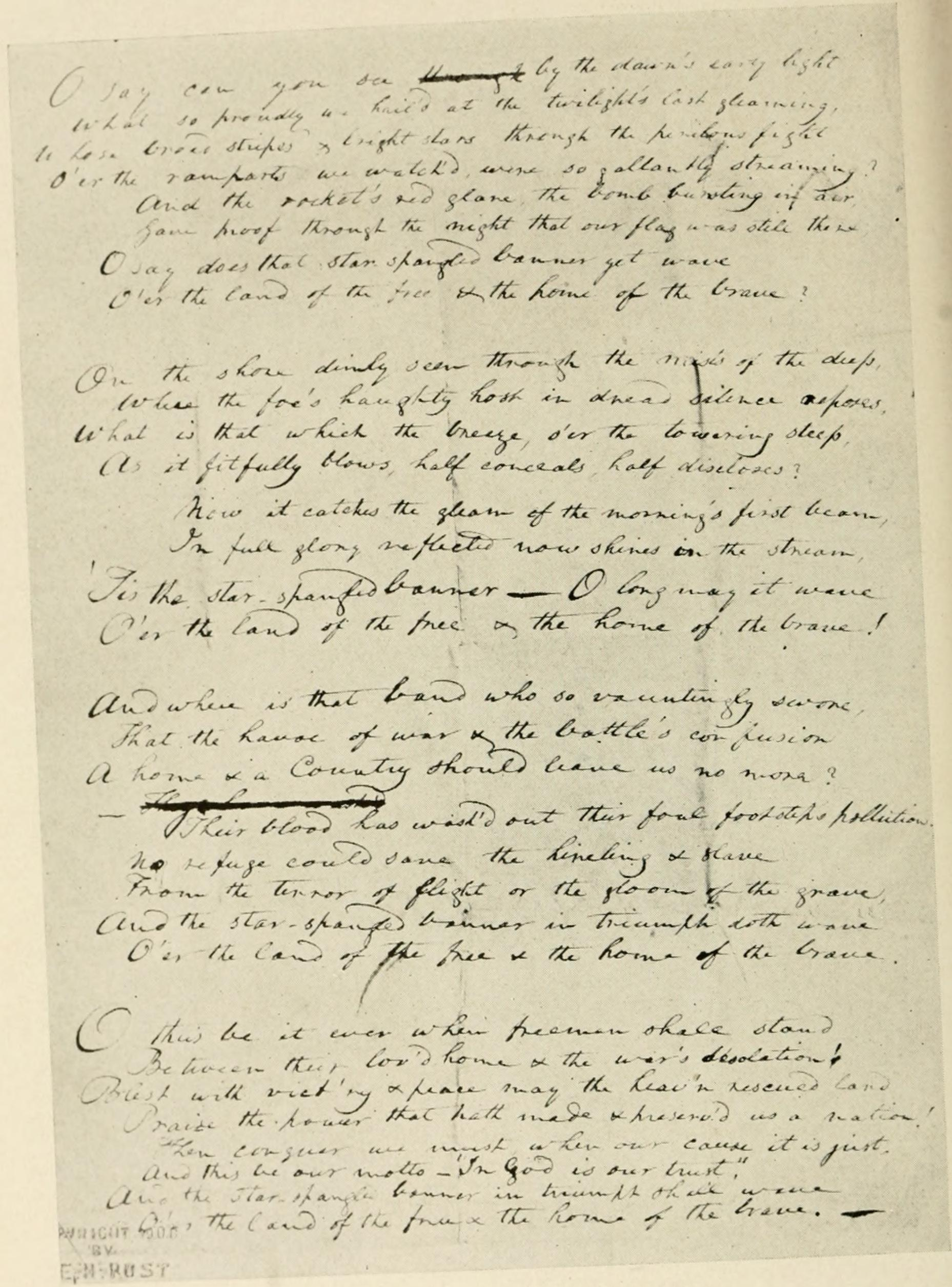 Francis Scott Key's original manuscript copy of his