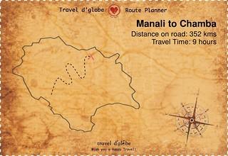 Map from Manali to Chamba