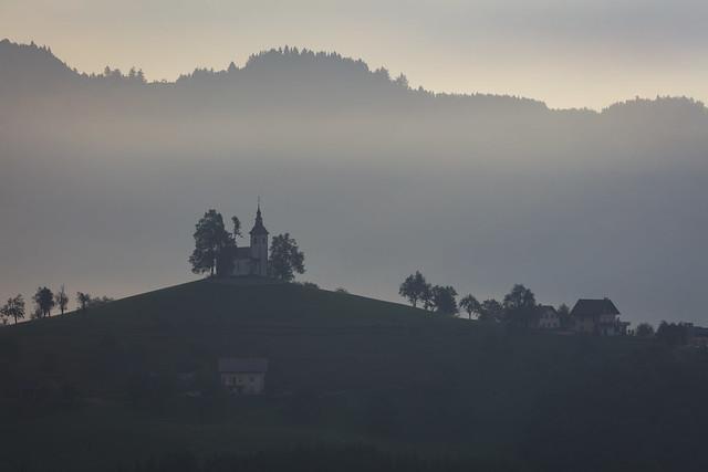 St. Thomas Church lost in the mist, Slovenia