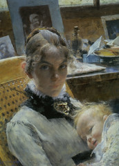 Carl Larsson - A Studio Idyll. The Artist's Wife and their Daughter Susanne Pastel at Nationalmuseum Stockholm Sweden