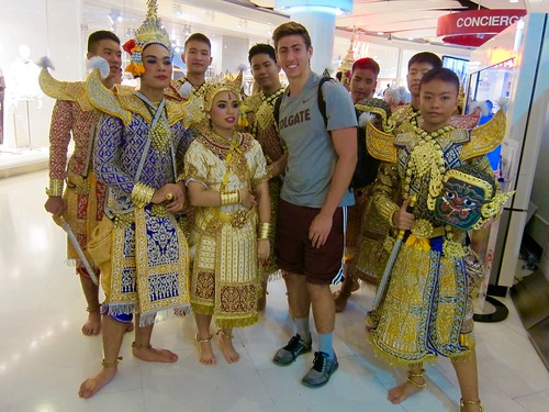 Will Rosencrans '19 (majoring in Physics) group with a group of performers met in Bangkok who had just finished a show.