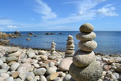 Pebble towers on beach