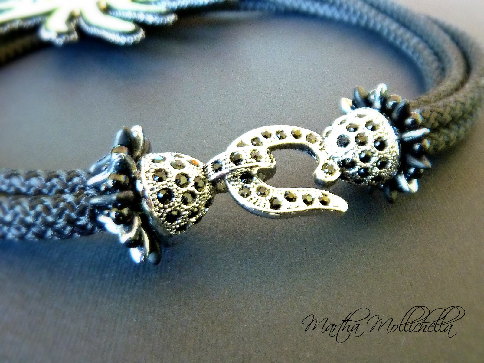 collana spilla sole soutache e cordoncino handmade by Martha Mollichella