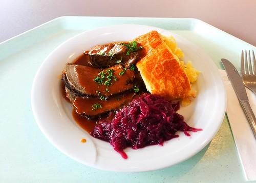 Bavarian roast venison with home made potato strudel & red cabbage / Bayrischer Hirschsauerbraten mit hausgemachtem Kartoffelstrudel & Apfel-Blaukraut