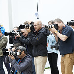 Press pack gather to snap an author |