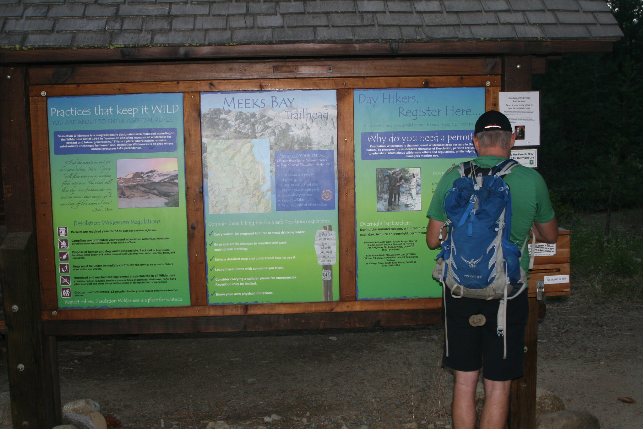 Bart filling out a day permit at the Meeks Bay Trailhead