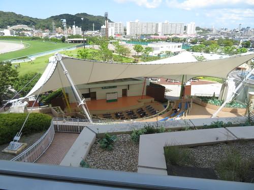 小倉競馬場の4階の4コーナー寄りから見下ろすイベントステージ