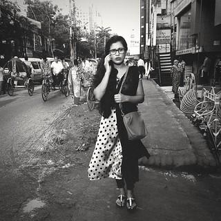 Girl on the phone. Dhaka. Bangladesh.