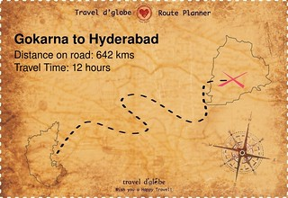Map from Gokarna to Hyderabad
