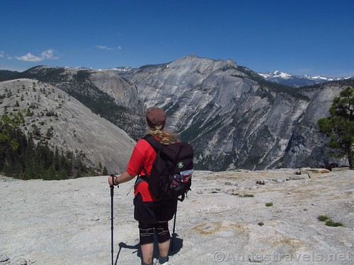 Looking toward Clouds Rest and the snowy Sierras from North Dome in Yosemite National Park, California