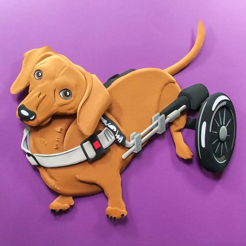 Rescue Dog Paper Sculpture by Emmanuel Jose - Barney