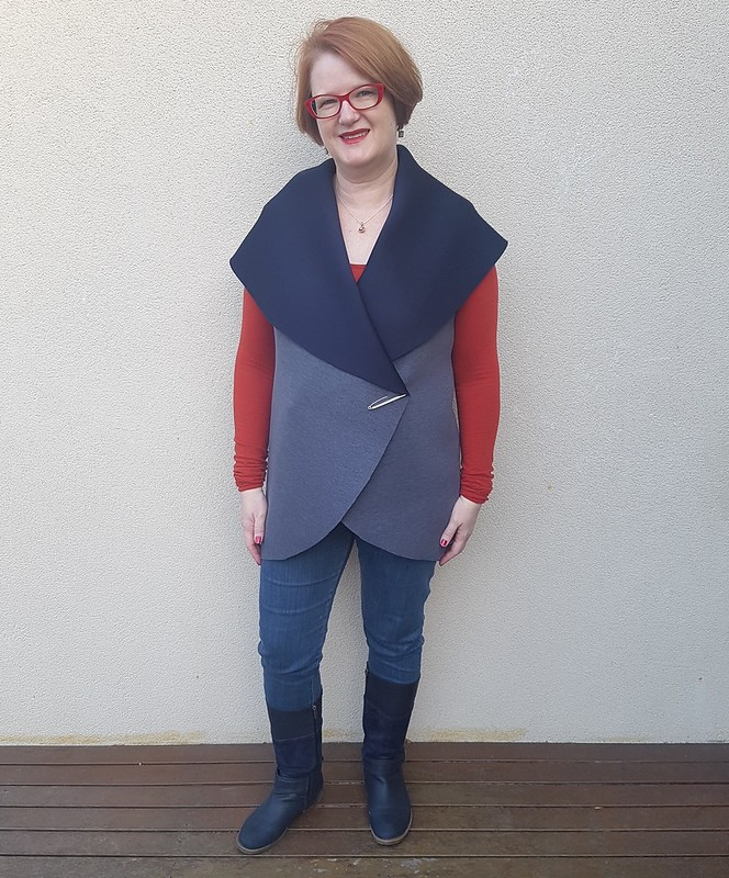 Tessuti Kyoto Vest in double sided scuba/jersey from Darn Cheap Fabrics