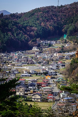 Aerial view of onsen village at autumn in Japan
