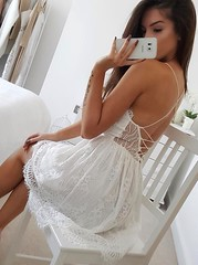 A-Line Spaghetti Straps Criss-Cross Straps White Lace Homecoming Dress