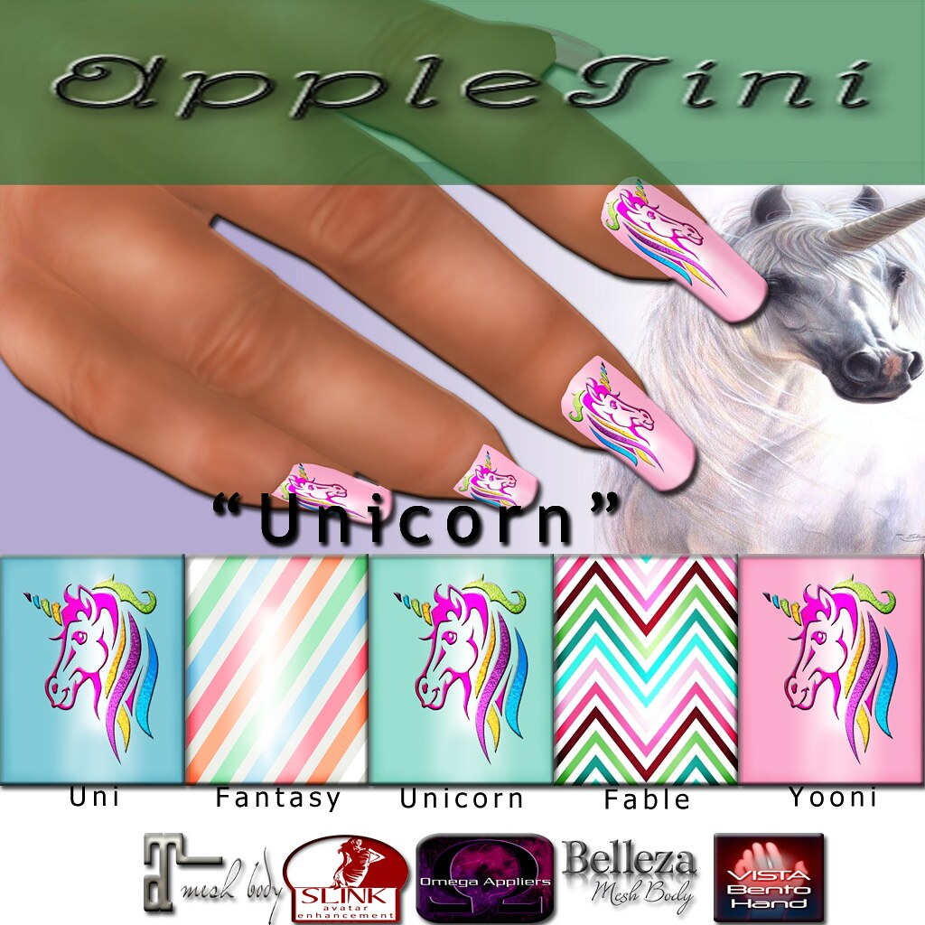 AppleTini Unicorn Nails - SecondLifeHub.com