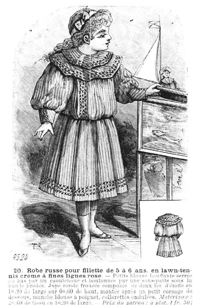 Robe russe pour fillette de 5 à 6 ans, en lawn-tennis crème à fines lignes roses