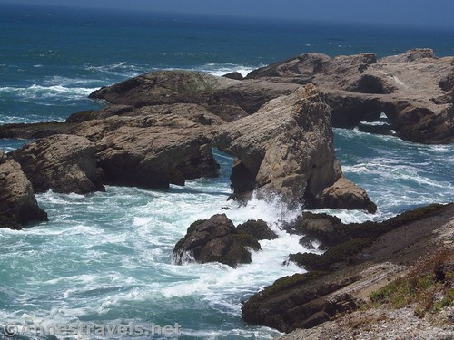 Sea arches at high tide at Point Arena-Stornetta National Monument, California