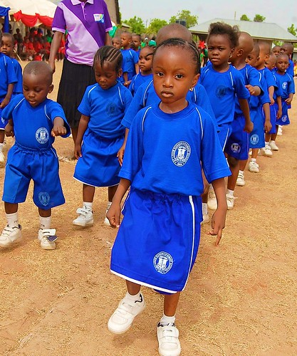 The blue house marches at the 3rd biennial interhouse sports competition at St Louis NPS Bida