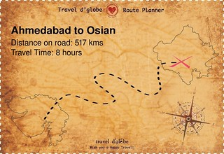 Map from Ahmedabad to Osian