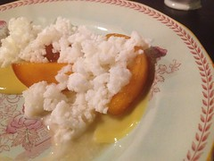 Peaches w. Buttermilk Granita & Custard