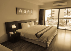 Interior of a bed room at modern hotel