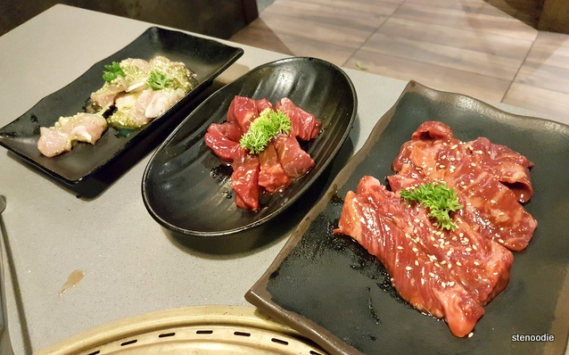 Harami Miso Skirt Steak, New York Steak, and Chicken